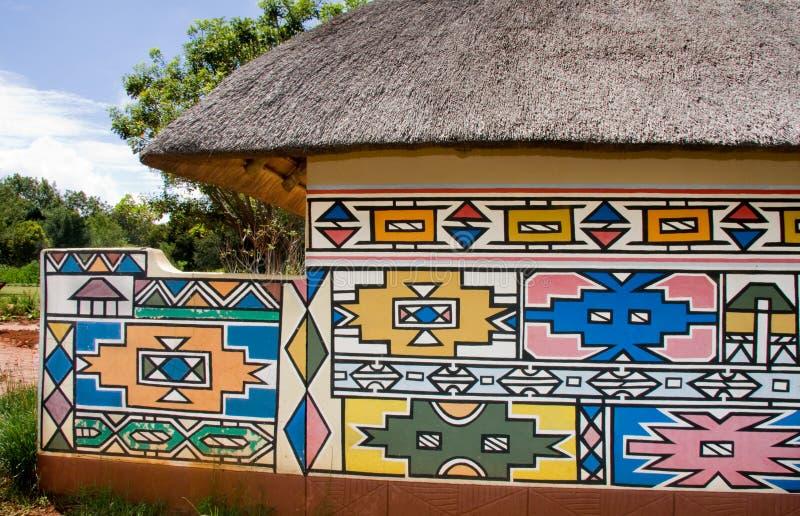 Het huis van Ndebele stock foto's
