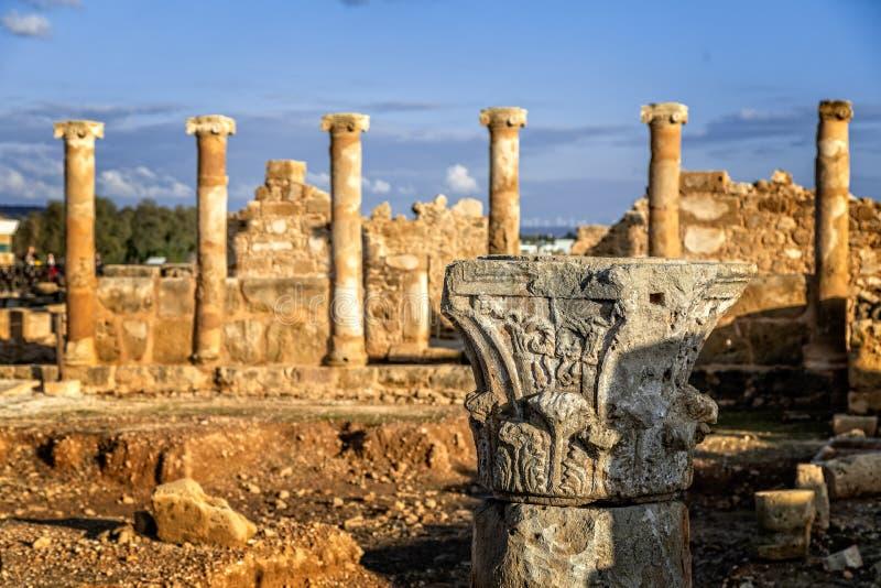 Het Huis van Theseus, Roman villaruïnes in Kato Paphos Archaeological Park, Paphos stock afbeelding