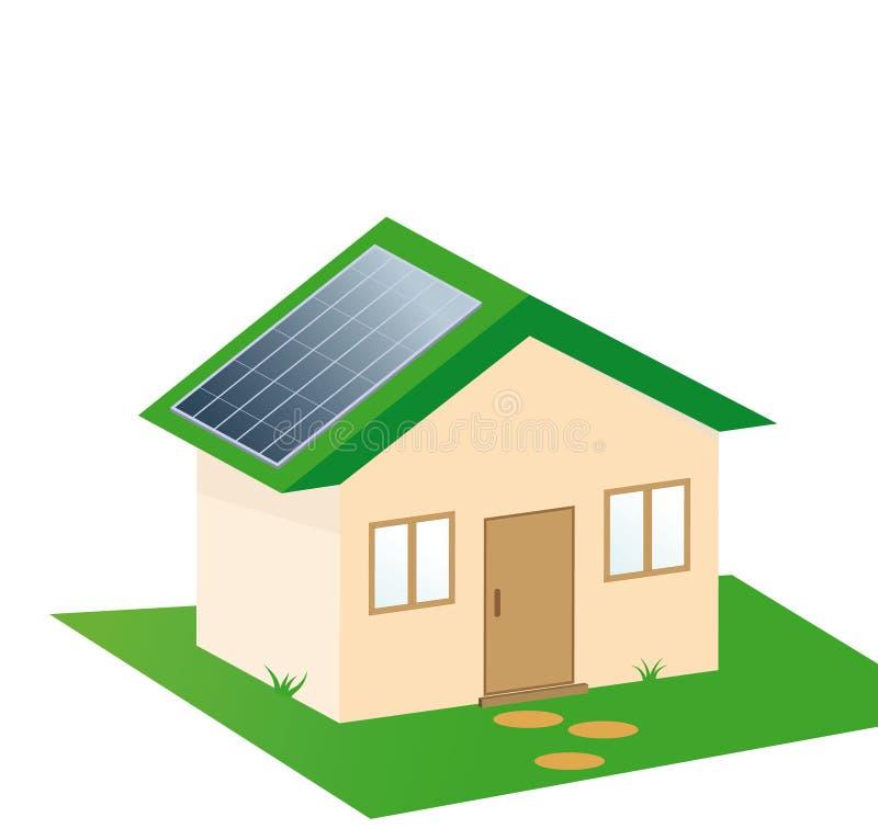 Het huis van zonne-energieeco stock illustratie