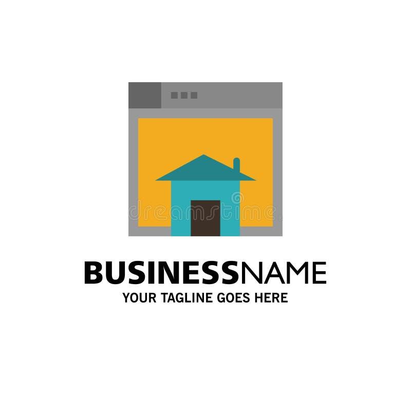 Het huis, verkoopt, Web, Lay-out, Pagina, Websitezaken Logo Template vlakke kleur stock illustratie