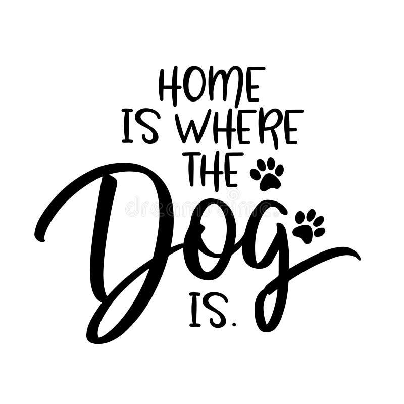Het huis is waar de hond is stock illustratie