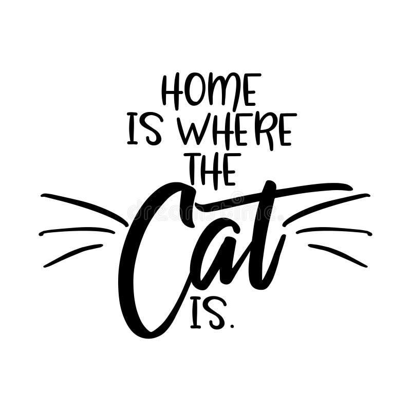 Het huis is waar de kat is royalty-vrije illustratie