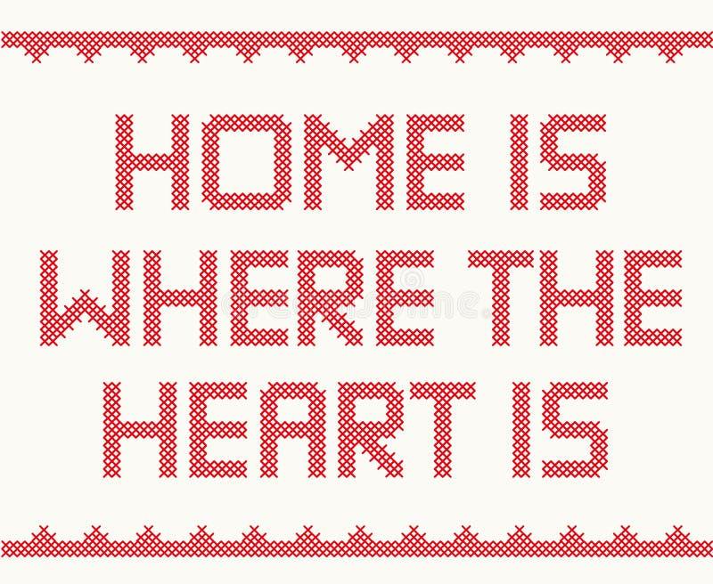 Het huis is waar het hart is royalty-vrije illustratie