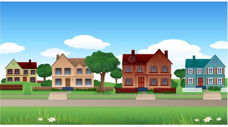 Het huisachtergrond van de voorstad stock illustratie