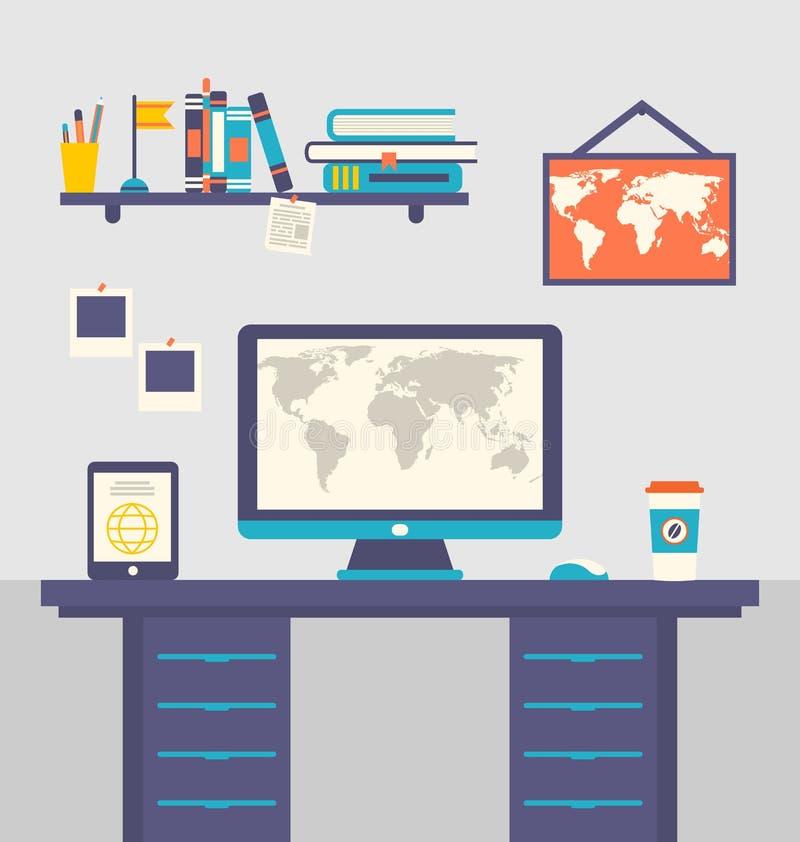 Het huisbinnenland van de het werkplaats, lijst, tabletpc, computer, monitor vector illustratie