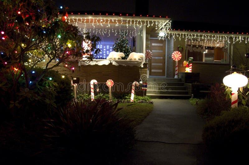 Het huishuis van Kerstmislichten royalty-vrije stock afbeeldingen