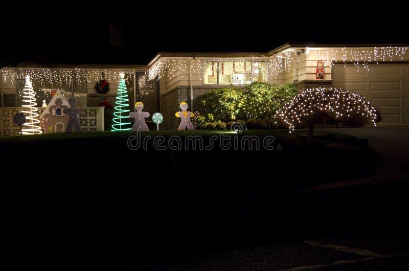 Het huishuis van Kerstmislichten royalty-vrije stock foto's
