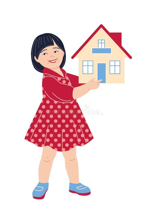 Het Huismodel van de meisjeholding royalty-vrije illustratie