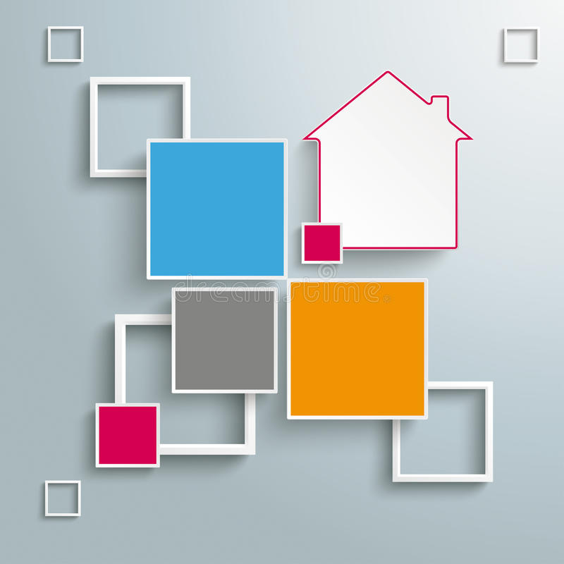 Het Huisontwerp 4 van vierkantenkaders Opties stock illustratie