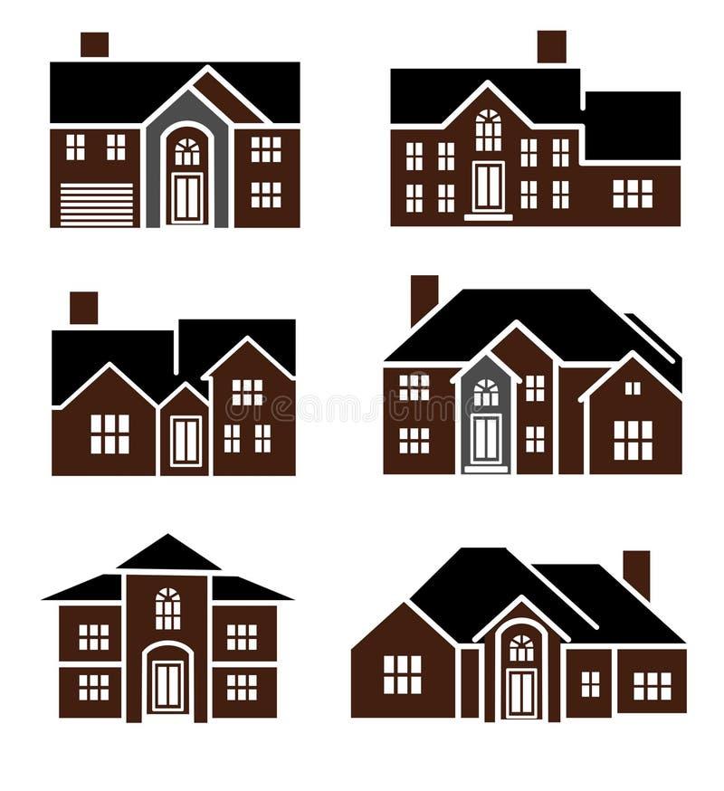 Het huispictogrammen van de baksteen royalty-vrije illustratie