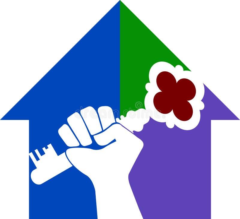 Het huissleutel van de hand stock illustratie