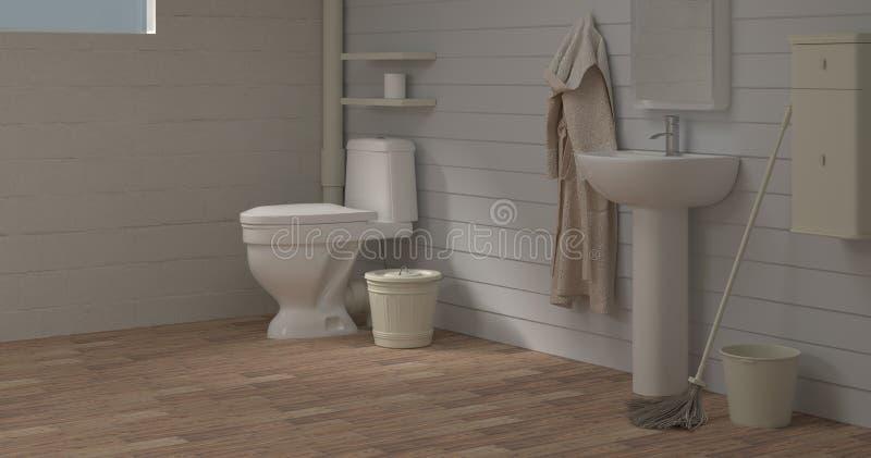 Het huisverbetering de Wasbak die van de Toiletruimte 3d binnenlandse backgroun lege muur schoonmaken van de illustratie lege rui royalty-vrije stock afbeelding