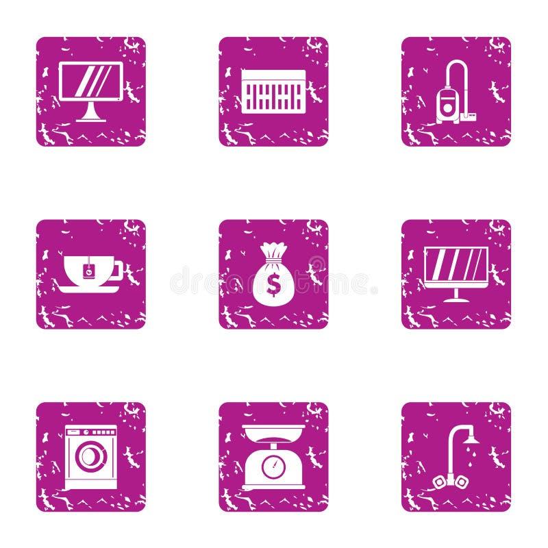 Het huisverbetering geplaatste pictogrammen, grunge stijl stock illustratie