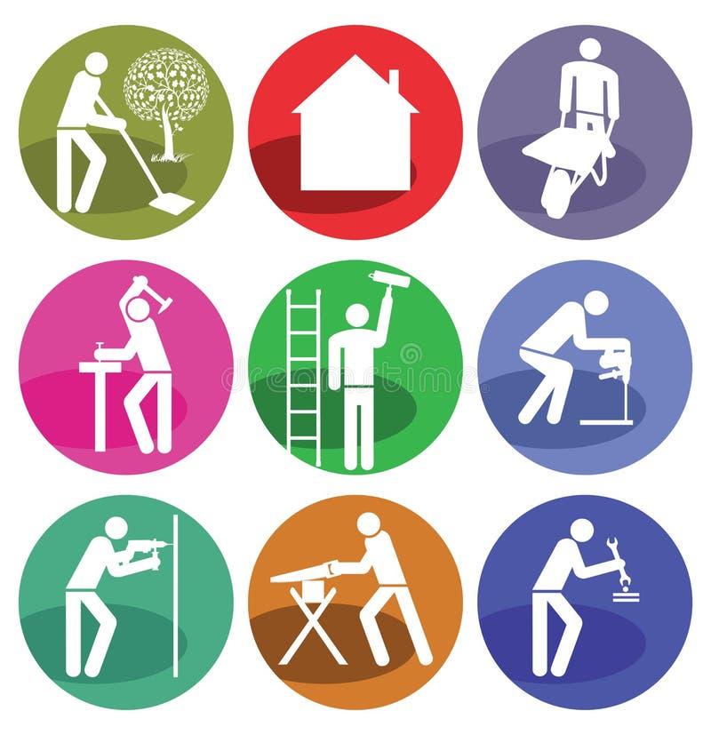 Het huisverbetering pictogrammen vector illustratie