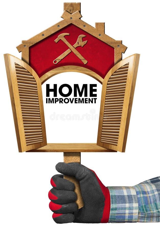 Het huisverbetering Teken met Open Venster stock illustratie