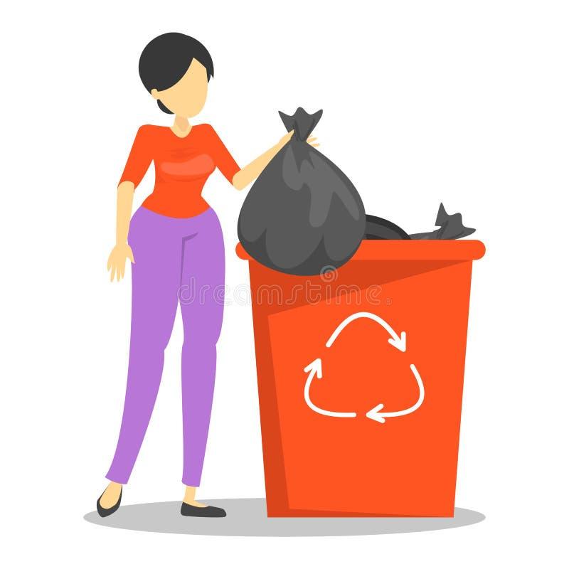 Het huisvuil van de vrouwenholding en status bij de afvalcontainer royalty-vrije illustratie