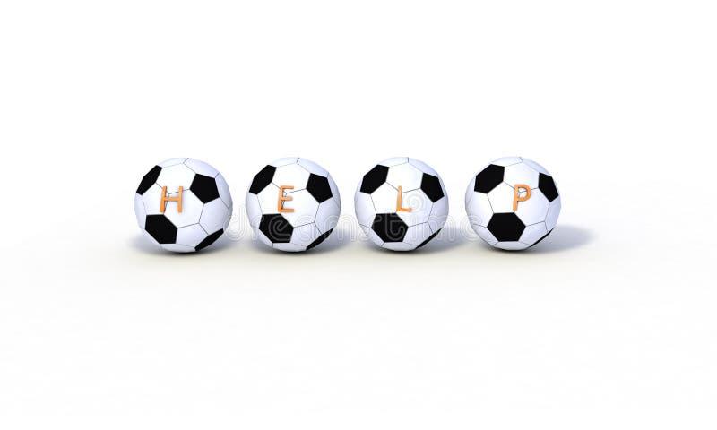 Het hulpconcept, 3d voetbalmodellen geeft terug royalty-vrije illustratie
