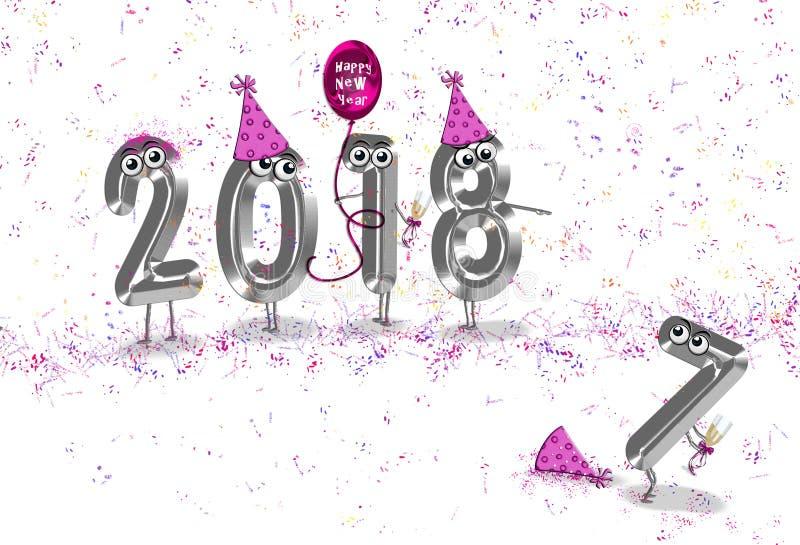 Het humeur van de nieuwjaar 2018 partij stock illustratie