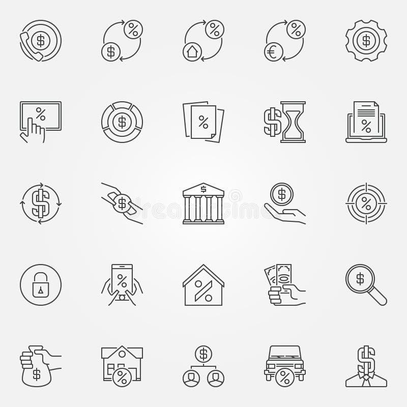 Het huren en lenings geplaatste pictogrammen royalty-vrije illustratie