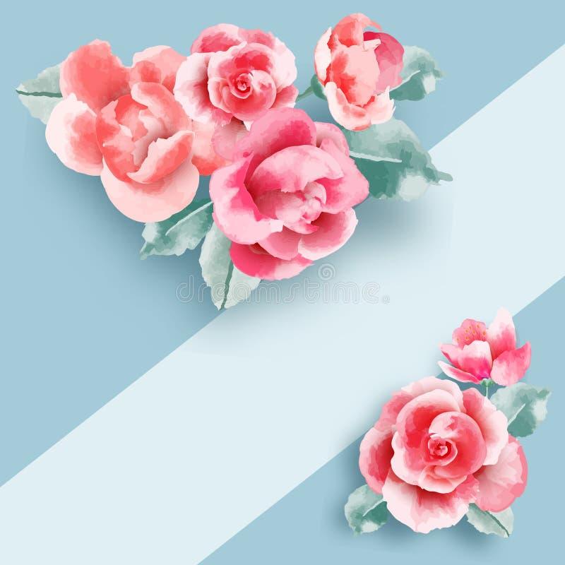 Het huwelijk bloeit hierboven kader op pastelkleur blauwe achtergrond van Mooi roze rozenmalplaatje Vlak leg Vector illustratie stock illustratie