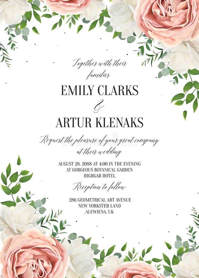 Het huwelijk bloemen nodigt, invtation, sparen het ontwerp van de datumkaart uit wat vector illustratie