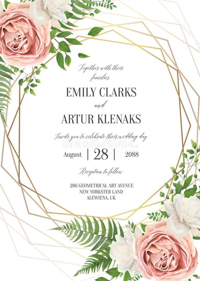 Het huwelijk bloemen nodigt, het ontwerp van de invtationkaart uit Waterverf lavende royalty-vrije illustratie