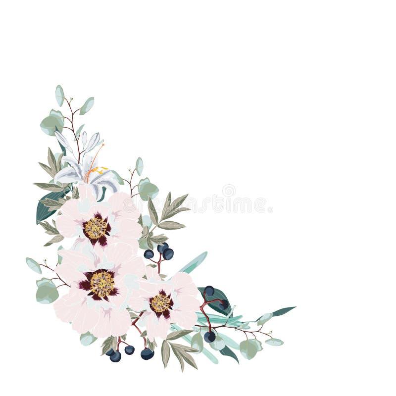 Het huwelijk bloemen nodigt het Ontwerp van de uitnodigingskaart met pioenroze uit, bessen, het groene tropische decor van de euc stock illustratie