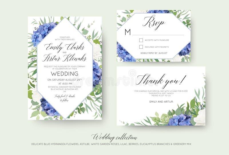 Het huwelijk bloemen nodigt, rsvp, dankt u kaartenontwerp met elegant uit royalty-vrije illustratie