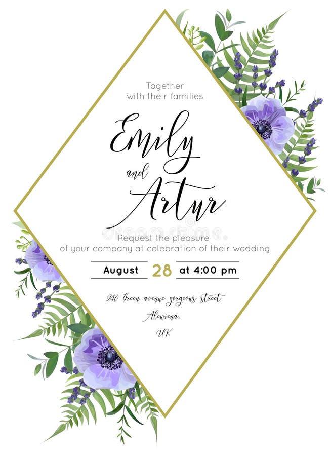 Het huwelijk bloemen nodigt, sparen de datumkaart uit Waterverflavendel B royalty-vrije illustratie