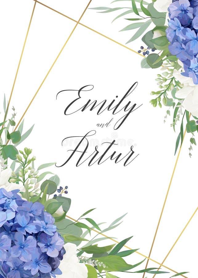 Het huwelijk bloemen nodigt, sparen het ontwerp van de datumkaart met elegante blauwe violette hydrangea hortensiabloemen, witte  vector illustratie