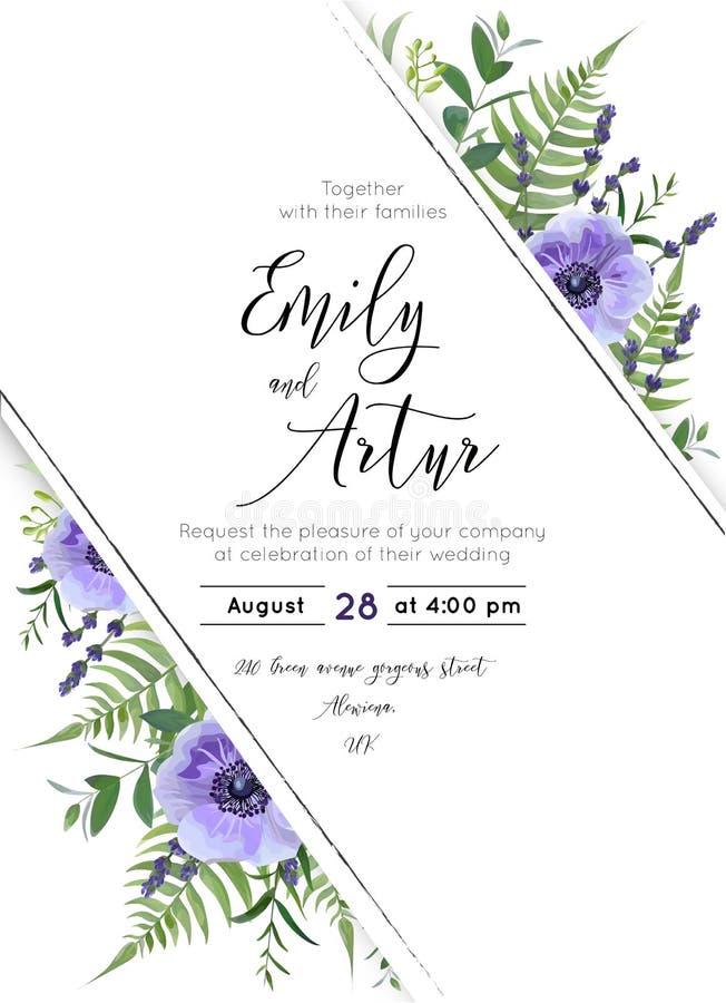 Het huwelijk bloemen nodigt, uitnodiging, sparen het ontwerp van de datumkaart uit La vector illustratie