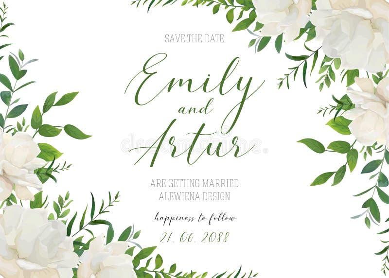 Het huwelijk bloemen nodigt, uitnodiging, sparen het ontwerp van de datumkaart uit Wh royalty-vrije illustratie