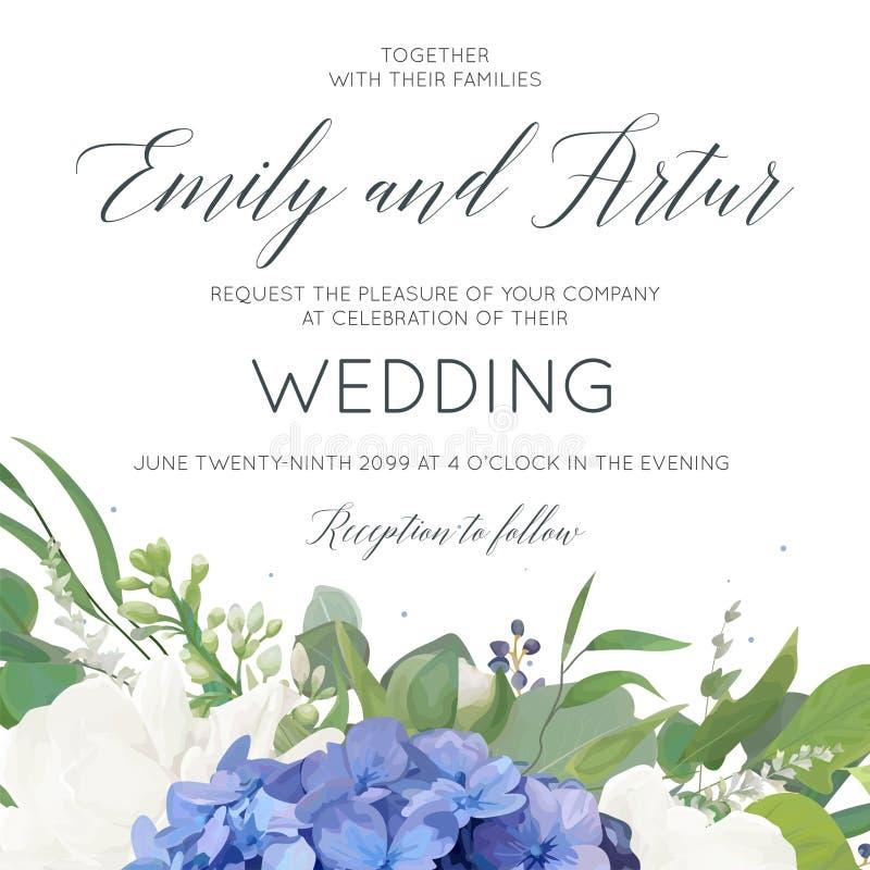 Het huwelijk bloemen nodigt, uitnodiging, sparen het het ontwerpverstand van de datumkaart uit royalty-vrije illustratie
