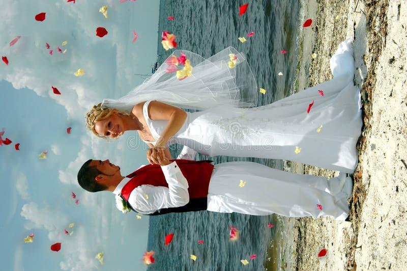 Het huwelijk dat van het strand bloemen werpt stock afbeeldingen
