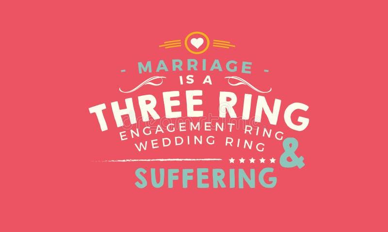 Het huwelijk is drie belt: verlovingsring, trouwring, en het lijden royalty-vrije illustratie