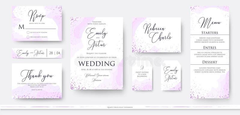 Het huwelijk nodigt dankt u uit, rsvp het ontwerp van de menukaart met abstrac wordt geplaatst die vector illustratie