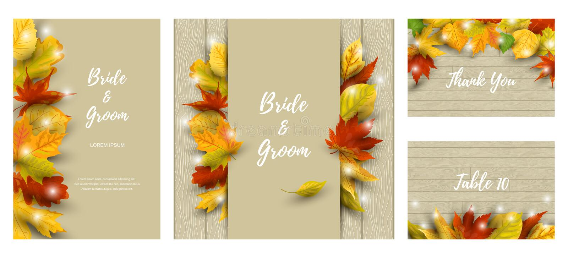 Het huwelijk nodigt reeks met dalende bladeren uit stock afbeeldingen