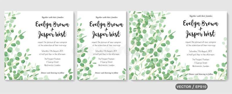 Het huwelijk nodigt uit, dankt de uitnodiging rsvp u kaardt vector bloemengre stock illustratie
