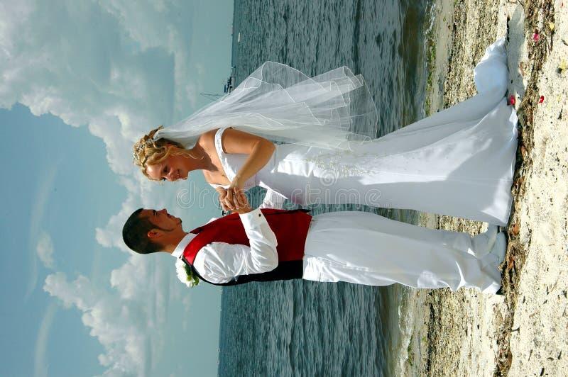 Het huwelijk van het strand stock afbeelding