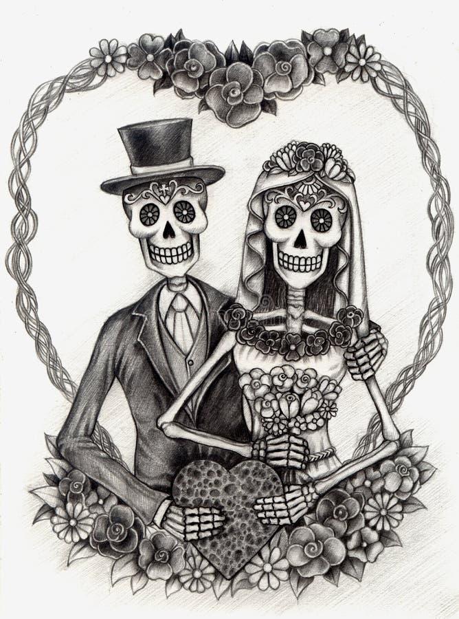 Het huwelijksdag van de schedelkunst van de doden Hand die op papier trekken stock illustratie