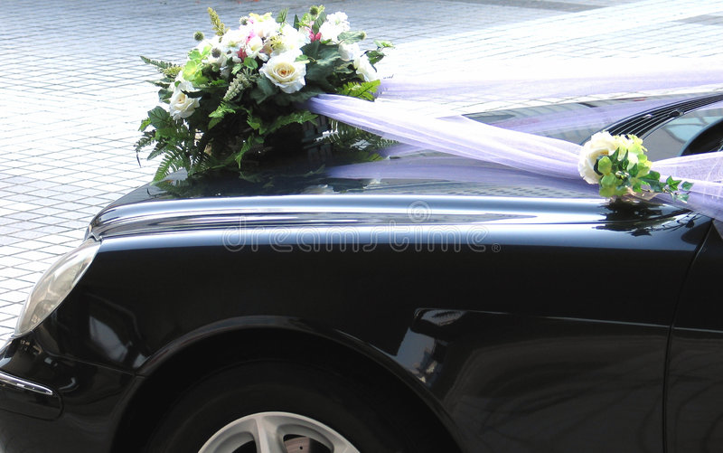 Het huwelijksdecoratie van de auto royalty-vrije stock afbeelding