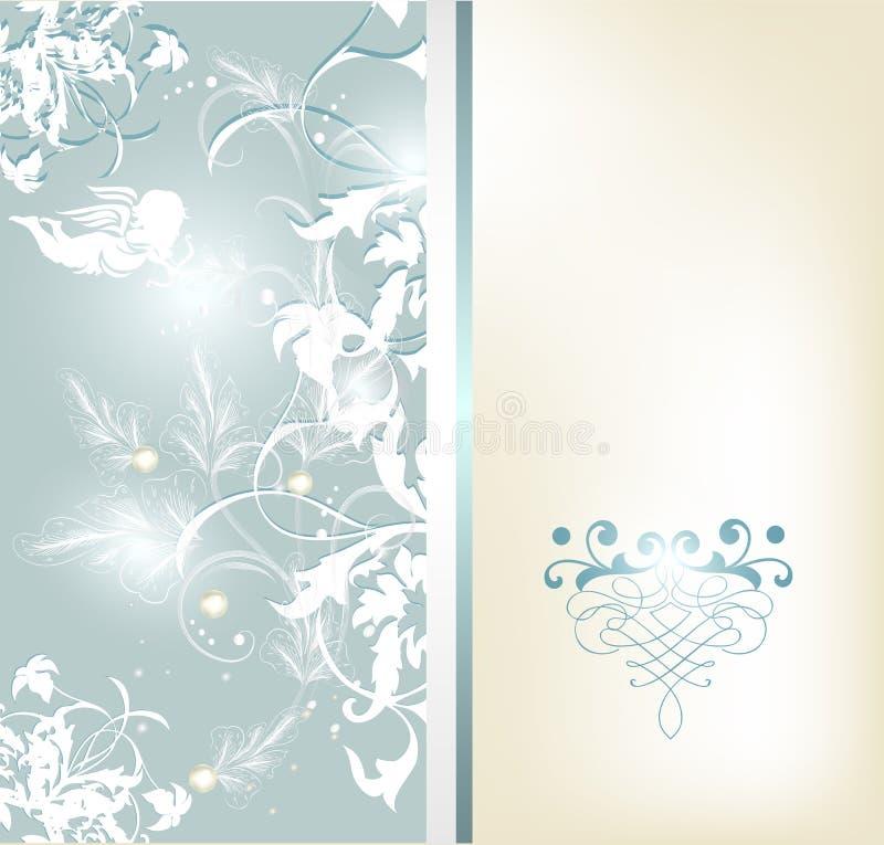 Het huwelijkskaart van de uitnodiging in elegante blauwe kleur met ruimte voor tex vector illustratie