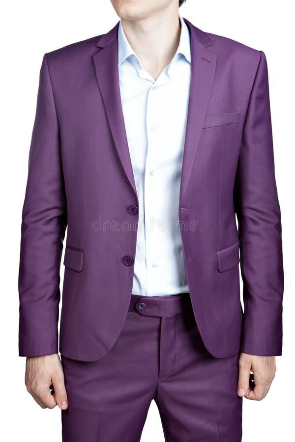 Het huwelijkskostuum, blazer en broeken van purpere die mensen, op wh wordt geïsoleerd royalty-vrije stock foto