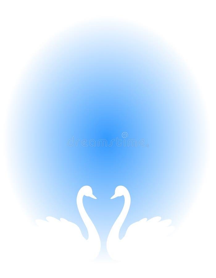 Het huwelijksuitnodiging van de zwaan vector illustratie