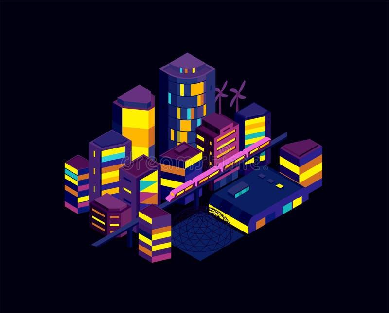 Het icometric landschap van de nachtstad Moderne architectuur, gebouwen, wolkenkrabbers Trein die de lichte spoormetro kruisen vector illustratie
