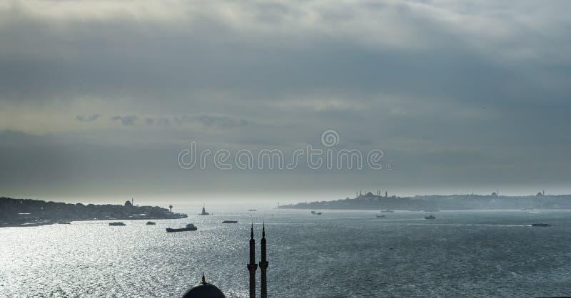 Het iconische silhouet van Istanboel royalty-vrije stock fotografie