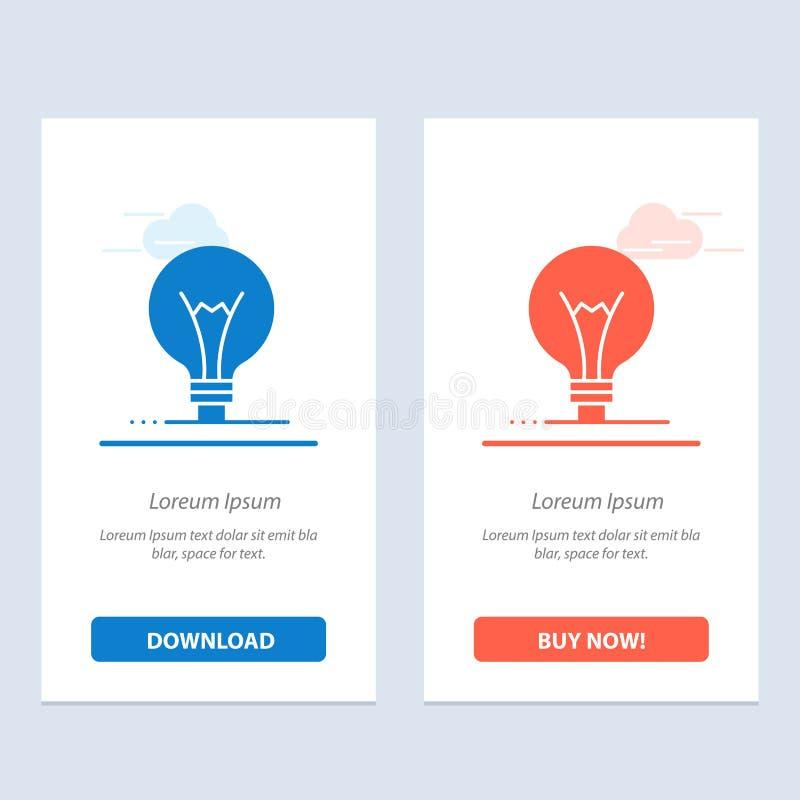 Het idee, de Innovatie, de Uitvinding, de gloeilampen Blauwe en Rode Download en kopen nu de Kaartmalplaatje van Webwidget stock illustratie
