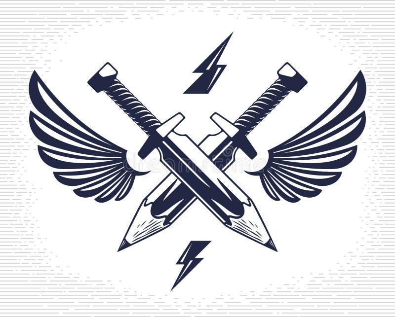 Het idee is een wapenconcept, wapen van een ontwerper of kunstenaarsallegorie die als twee gekruiste zwaarden met potloden in pla vector illustratie
