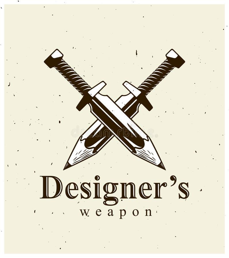 Het idee is een wapenconcept, wapen van een ontwerper of kunstenaarsallegorie die als twee gekruiste zwaarden met potloden in pla royalty-vrije illustratie