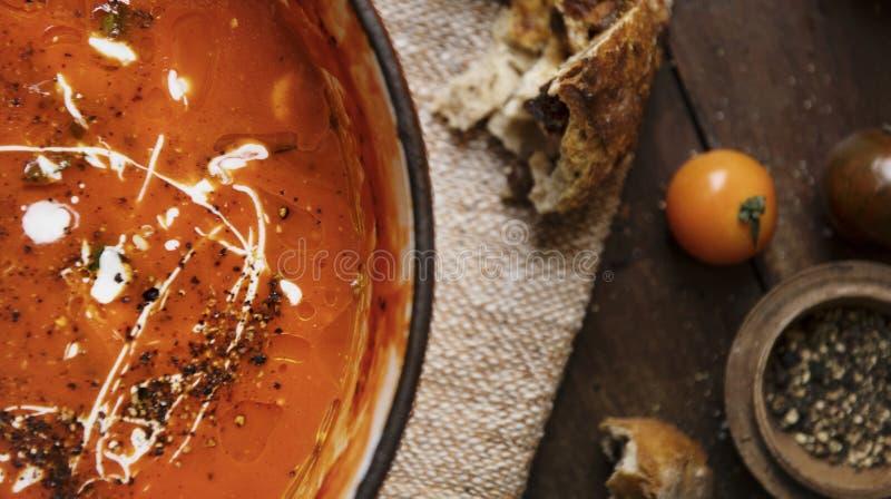 Het idee van het de fotografierecept van het tomatensausvoedsel royalty-vrije stock afbeelding